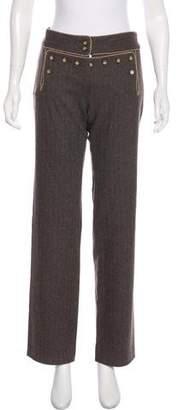 Dolce & Gabbana Chevron Print Wool Mid-Rise Pants