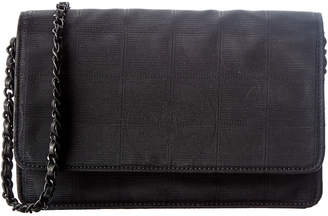Chanel Black Nylon Travel Line Wallet On Chain
