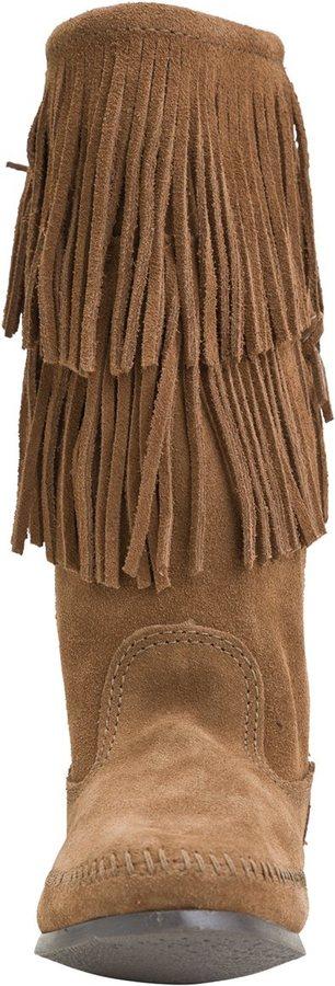 Minnetonka Calf Hi 2 Layer Fringe Boot