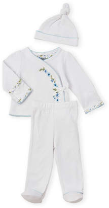 Mud Pie Mudpie (Newborn Girls) 3-Piece Floral Long Sleeve Footie Set