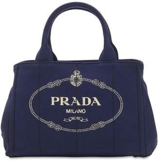 Prada Logo Printed Canvas Tote Bag