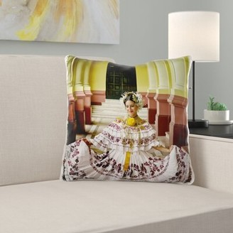 East Urban Home Beach Bum Dogs Panamanian Woman in Her Twenties Dressed Up with the Traditional Pollera Pillow Cover East Urban Home