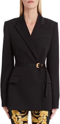 Versace First Line Belted Stretch Wool Blazer