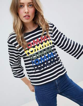 Tommy Hilfiger Stripe T-Shirt With Rainbow Logo