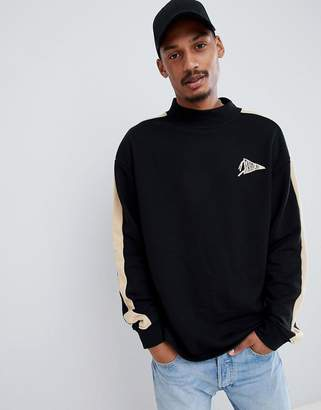 FAIRPLAY Fairplay mock neck sweatshirt with sleeve stripe in black