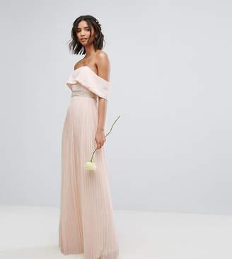 TFNC Bardot Maxi Bridesmaid Dress with Pleated Skirt and Embellished Waist