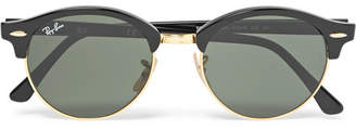 Ray-Ban Clubmaster Round-Frame Acetate and Gold-Tone Polarised Sunglasses - Men - Black
