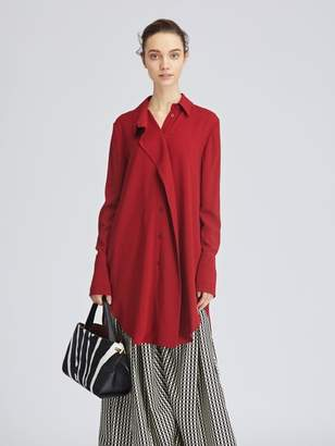 Oscar de la Renta Cranberry Stretch-Crepe Sable Blouse