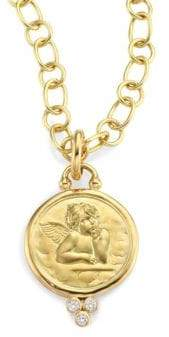 Temple St. Clair Diamond& 18K Yellow Gold Angel Pendant
