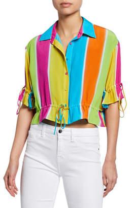 All Things Mochi Mimi Striped Button-Down Drawstring Shirt