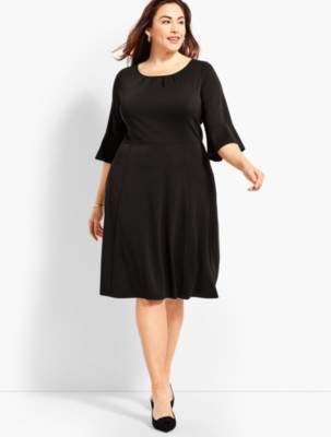 Talbots Plus Size Exclusive Knit Jersey Flounce-Sleeve Fit & Flare Dress