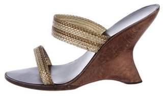 Giuseppe Zanotti Braided Wedge Sandals Gold Braided Wedge Sandals