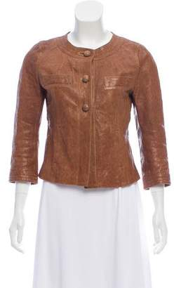 TOMORROWLAND Leather Button Front Jacket