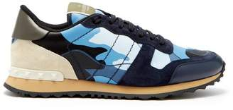 Valentino Rockrunner Camouflage Low Top Leather Trainers - Mens - Blue