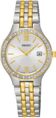 Seiko Women's Two-Tone Stainless Steel Bracelet Watch 27mm SUR758 $260 thestylecure.com