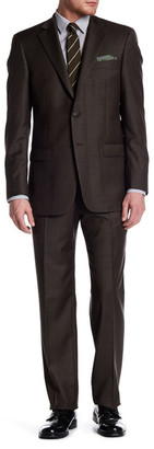 Hart Schaffner Marx Brown Woven Two Button Notch Lapel Wool Suit $795 thestylecure.com