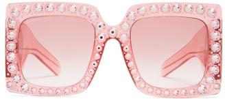 Embellished oversized square-frame sunglasses