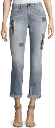 Brockenbow Charlotte Mid-Rise Boyfriend Jeans, Raven Gray