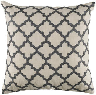 "Rizzy Home 18"" x 18"" Moroccan Tile Pattern Embroidered Poly Filled Pillow"