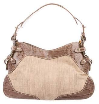 Valentino Leather-Trimmed Straw Bag
