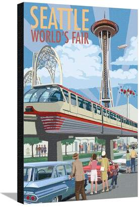Art.com Space Needle Opening Day Scene - Seattle, WA Stretched Canvas Print By Lantern Press - 61x81 cm