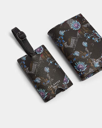 Ted Baker MINSTER Printed leather passport and luggage tag set