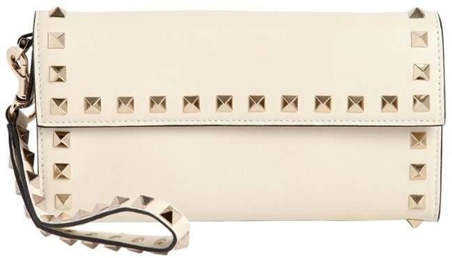 Rockstud Leather Wristlet Clutch