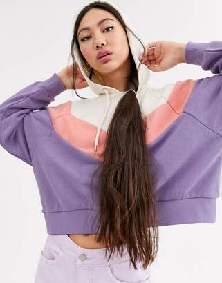 Monki cropped colour block hoodie in cream and purple