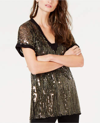INC International Concepts I.n.c. Allover-Sequin Short-Sleeve Top