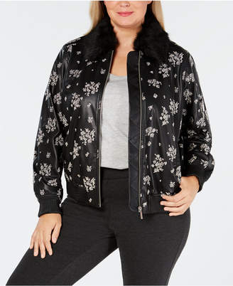 Michael Kors Plus Size Faux-Leather Bomber Jacket