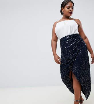 Asos DESIGN Curve maxi embellished wrap skirt