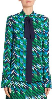 Michael Kors Collection Bow Pleat-Front Silk Blouse