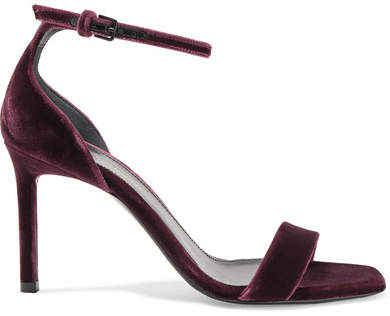 Saint Laurent - Amber Velvet Sandals - Burgundy