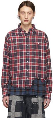 R 13 Red and Blue Plaid Tattered Hem Shirt