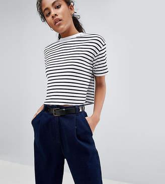 Asos Tall DESIGN Tall Boxy Crop Stripe T-Shirt In Rib