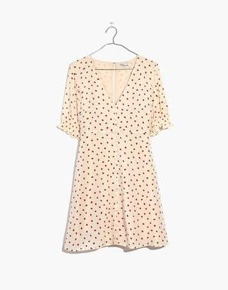 Madewell Silk Clover Button-Front Dress in Fresh Strawberries