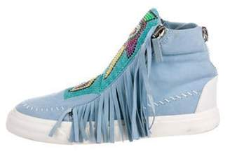 Giuseppe Zanotti Suede High-Top Sneakers Blue Suede High-Top Sneakers