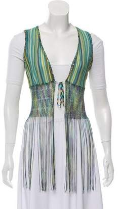 Missoni Fringe-Trim Striped Vest