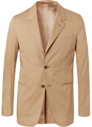 Caruso Sand Slim-fit Stretch-cotton Twill Suit Jacket - Sand