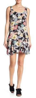 Nicole Miller Sleeveless Floral Print Ruffle Hem Shift Dress