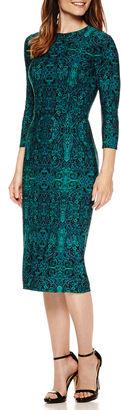 LIZ CLAIBORNE Liz Claiborne 3/4 Sleeve Persian Carpet Print Sheath Dress $72 thestylecure.com