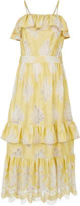 Rahul Mishra Tiered Lace Draped Midi Dress