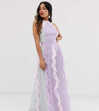 True Decadence Petite delicate halter neck maxi dress with waterfall skirt in tonal pastel
