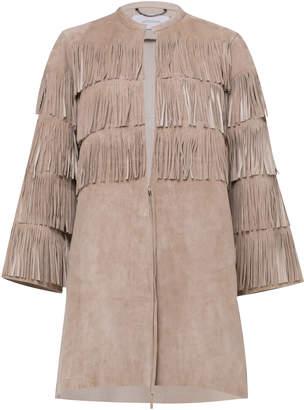 Dorothee Schumacher Velour Softness Leather Fringed Jacket Size: 1