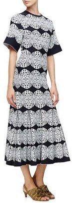 Derek Lam Medallion-Lace Flared Dress, Black/Multi Colors $2,595 thestylecure.com