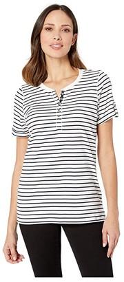 FDJ French Dressing Jeans Yarn-Dye Stripe Nautical Y Neckline Henley