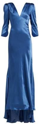 Maria Lucia Hohan Derya Bias Cut Silk Charmeuse Maxi Dress - Womens - Blue