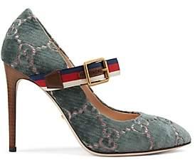 Gucci Women's Sylvie Velvet Pumps - Turquoise