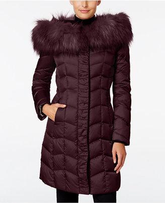 T Tahari Faux-Fur-Trim Hooded Puffer Coat $400 thestylecure.com