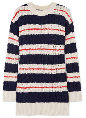 J.Crew Gabby Striped Cable-knit Merino Wool-blend Sweater - Navy